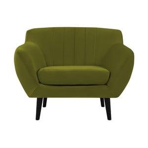 Zielony fotel z czarnymi nogami Mazzini Sofas Toscane