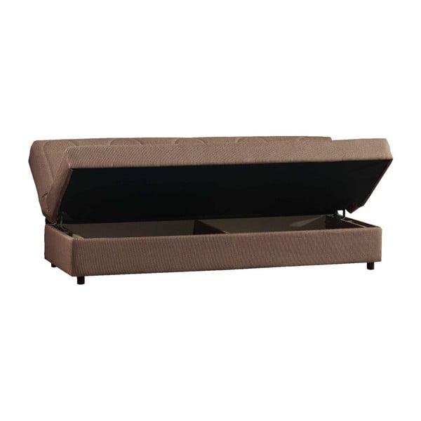 Brązowa trzyosobowa sofa rozkładana ze schowkiem Esidra Pause