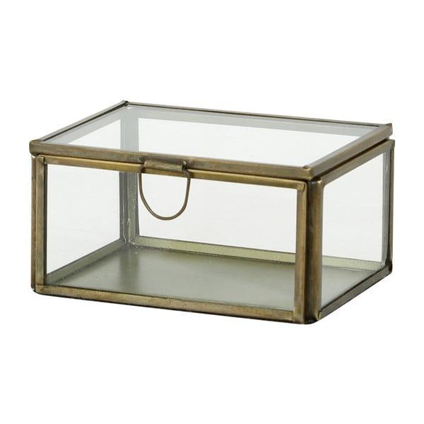 Zestaw 3 szklanych pojemników Brass Antique