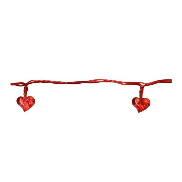 Świecący łańcuch LED Best Season Red Hearts, 135 cm