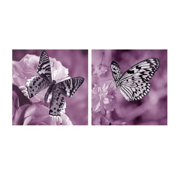 Zestaw obrazów na szkle Motyle, 30x30 cm, 2 szt