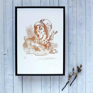Plakat w drewnianej ramie Alice in Wonderland Mad Hatter