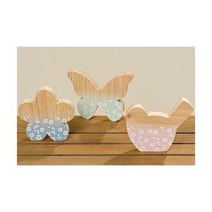 Zestaw 3 dekoracji z drewna jodłowego Boltze Pastell Puro