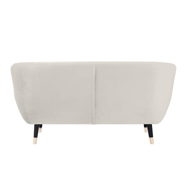 Kremowa sofa 2-osobowa z czarnymi nogami Mazzini Sofas Amelie