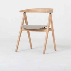 Krzesło z litego drewna dębowego z czarnym siedziskiem Gazzda Ava
