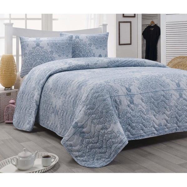 Narzuta i poszewka na poduszkę Arden Blue, 200x220 cm