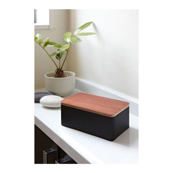 Czarne pudełko na chusteczki nawilżane YAMAZAKI Saitama