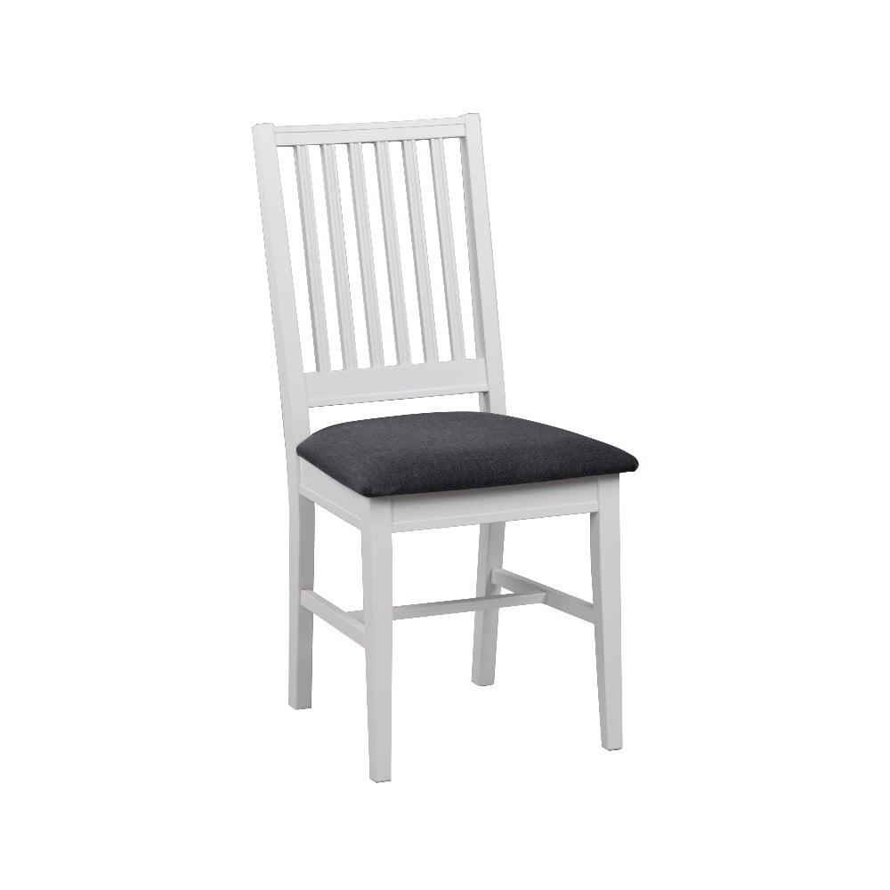 Białe krzesło z brzozy do jadalni z szarym siedziskiem Rowico Koster