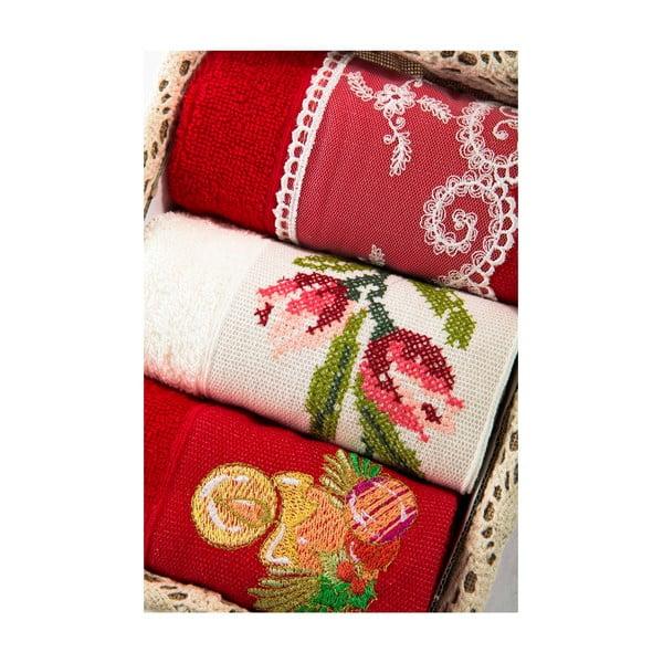 Zestaw 3 ręczników Xmas V25, 30x50 cm