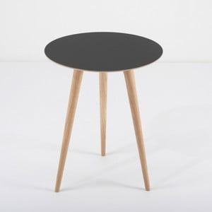Dębowy stolik z czarnym blatem Gazzda Arp, Ø45cm