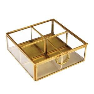 Szklany złoty organizer na biżuterię z 4 przegródkami Rex London Flavio