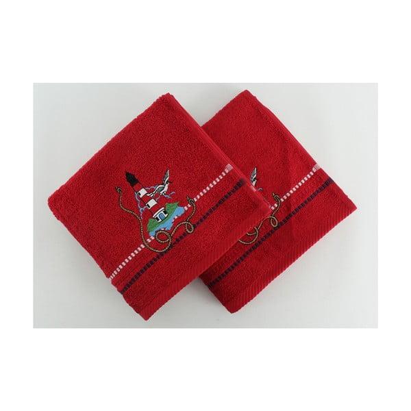 Komplet 2 ręczników Marina Red Feneri, 50x90 cm