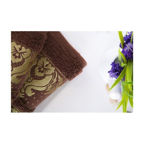 Zestaw 2 ręczników Antik Gold Dark Brown, 70x140 i 50x90 cm