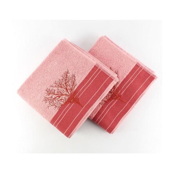 Zestaw 2 różowych ręczników Infinity, 50x90 cm