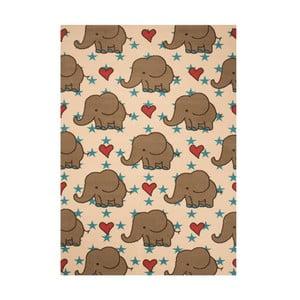 Brązowy dywan dziecięcy Zala Living Elephant, 140x200 cm