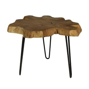 Stolik z drewna tekowego HSM Collection Bollei, ⌀ 55 cm