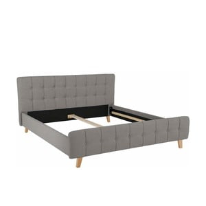 Szare łóżko dwuosobowe Støraa Limbo, 180x200cm