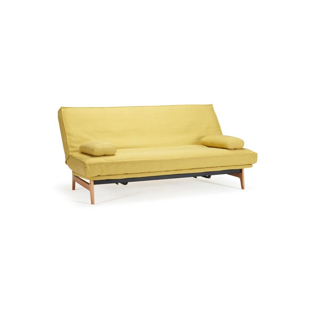 Żółta rozkładana sofa ze zdejmowanym obiciem Innovation Aslak Elegant Soft Mustard Flower, 81x200 cm