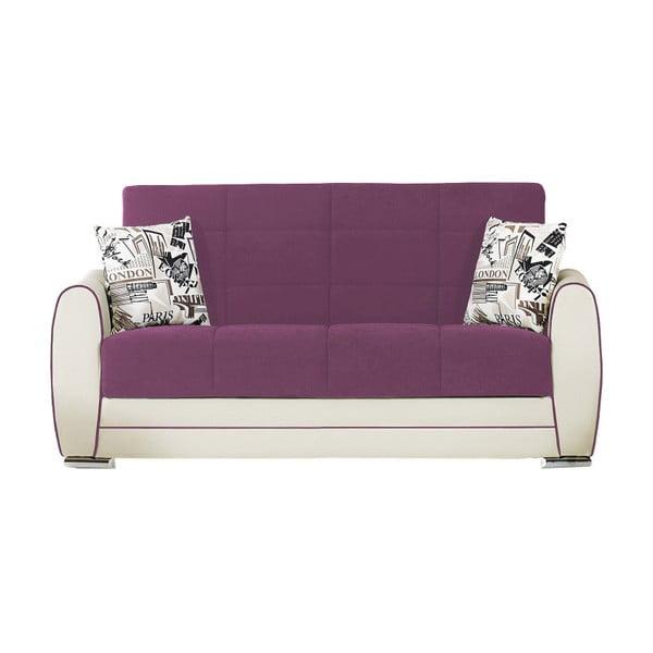 Karminowo-kremowa dwuosobowa sofa rozkładana ze schowkiem Esidra Rest