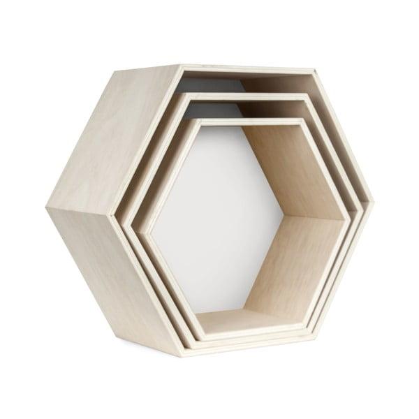Zestaw 3 półeczek Hexagon, białę