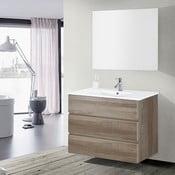 Szafka do łazienki z umywalką i lustrem Nayade, motyw dębu, 100 cm