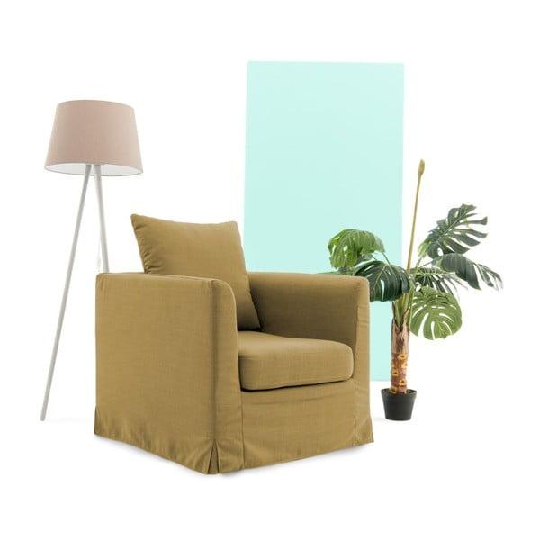 Musztardowy fotel Vivonita Coraly