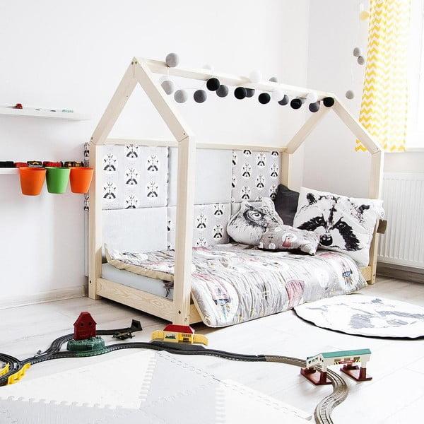 Drewniane łóżko dziecięce w kształcie domku Benlemi TERY, 80x180 cm