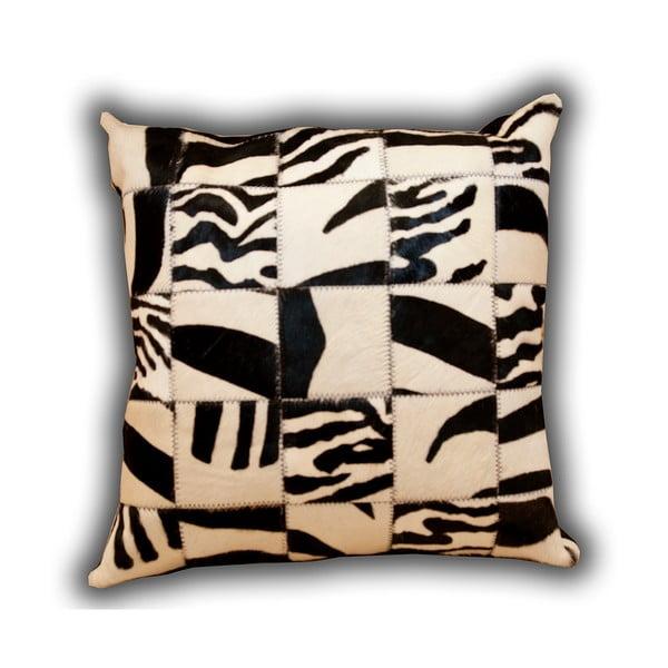 Poduszka skórzana Zebra, 45x45 cm