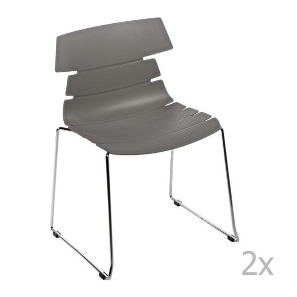Zestaw 2 szarych krzeseł D2 Techno