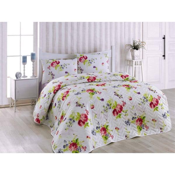 Narzuta na łóżko z poszewką na poduszkę Florance Lilac, 160x220 cm