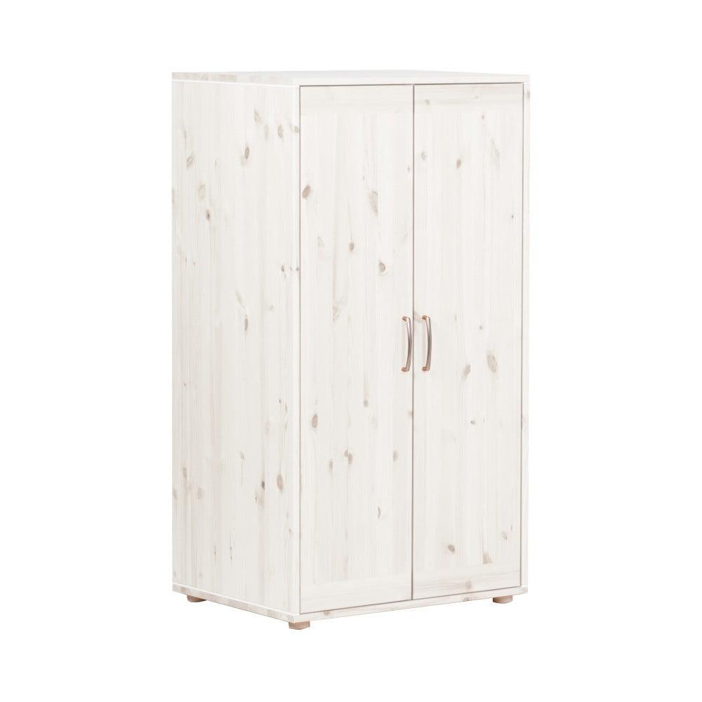 Biała szafa dziecięca z drewna sosnowego Flexa Classic, wys. 133 cm