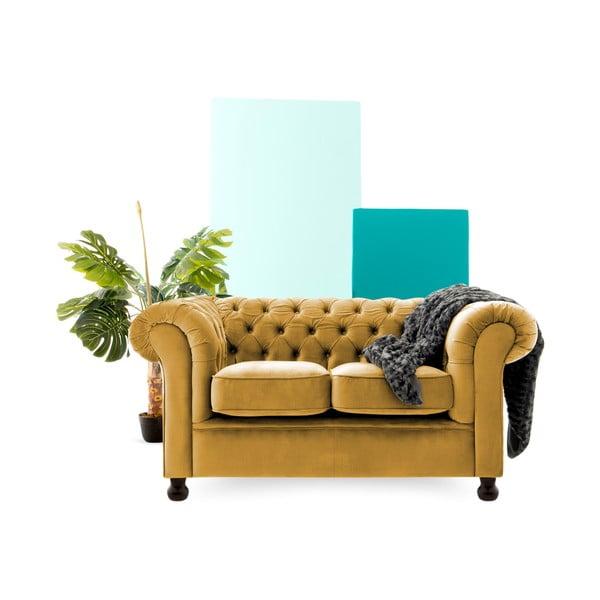 Musztardowa sofa dwuosobowa Vivonita Chesterfield