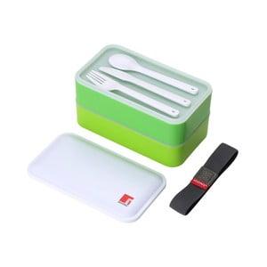 Zielony pojemnik śniadaniowy ze sztućcami Bergner Walking