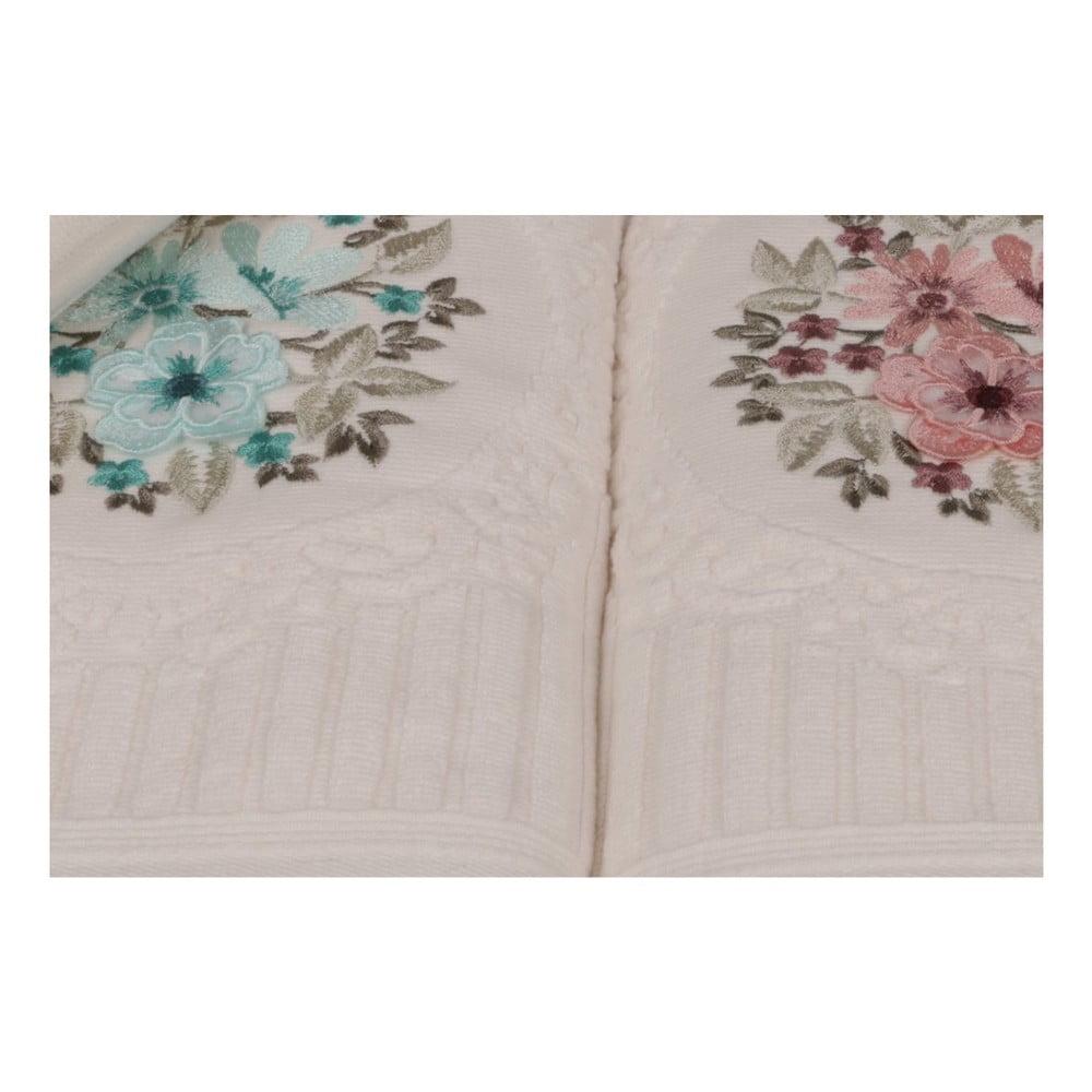 Zestaw sześciu ręczników z kwiatowym naszyciem Fleures, 90x50 cm