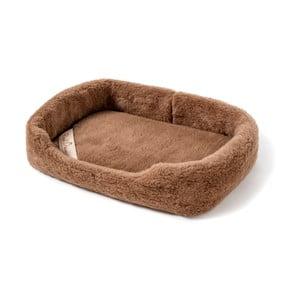 Brązowe legowisko dla psa z wełny merynosowej  Royal Dream, długość 60cm