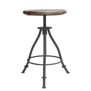 Szary stołek z siedziskiem z drewna mango LABEL51 Jaipur