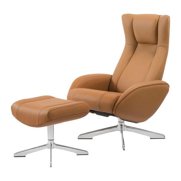 Jasnobrązowy fotel skórzany z podnóżkiem House Nordic Riga