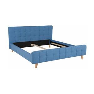 Niebieskie łóżko dwuosobowe Støraa Limbo, 180x200cm