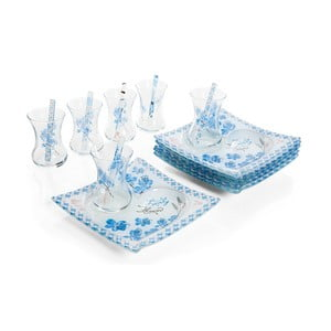 Niebiesko-biały zestaw do podawania herbaty Mezzo