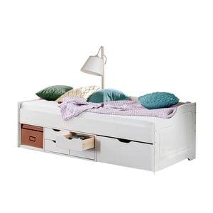 Białe   łóżko jednoosobowe z litego drewna sosnowego Støraa Marco