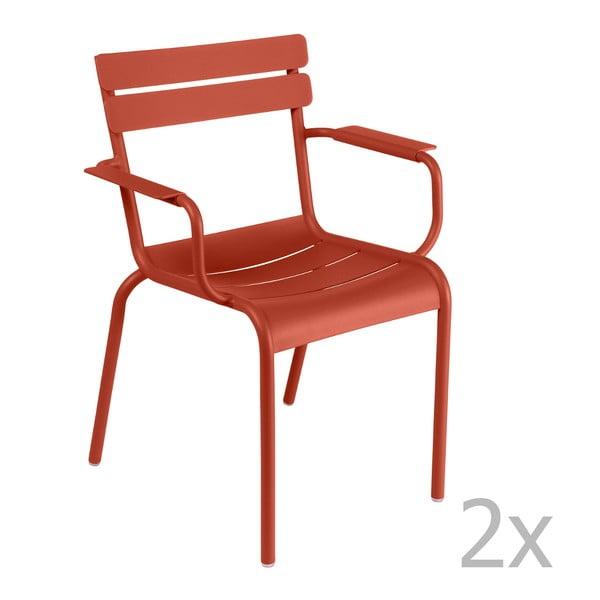 Zestaw 2 ceglanych krzeseł z podłokietnikami Fermob Luxembourg