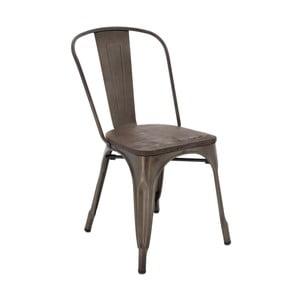 Brązowe krzesło z siedziskiem z drewna wiązu InArt Antique