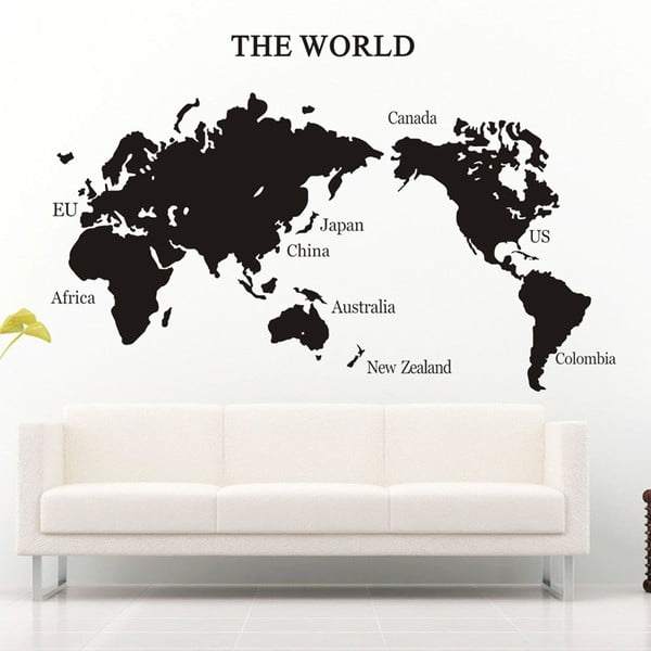 Naklejka dekoracyjna Mapamundi Black