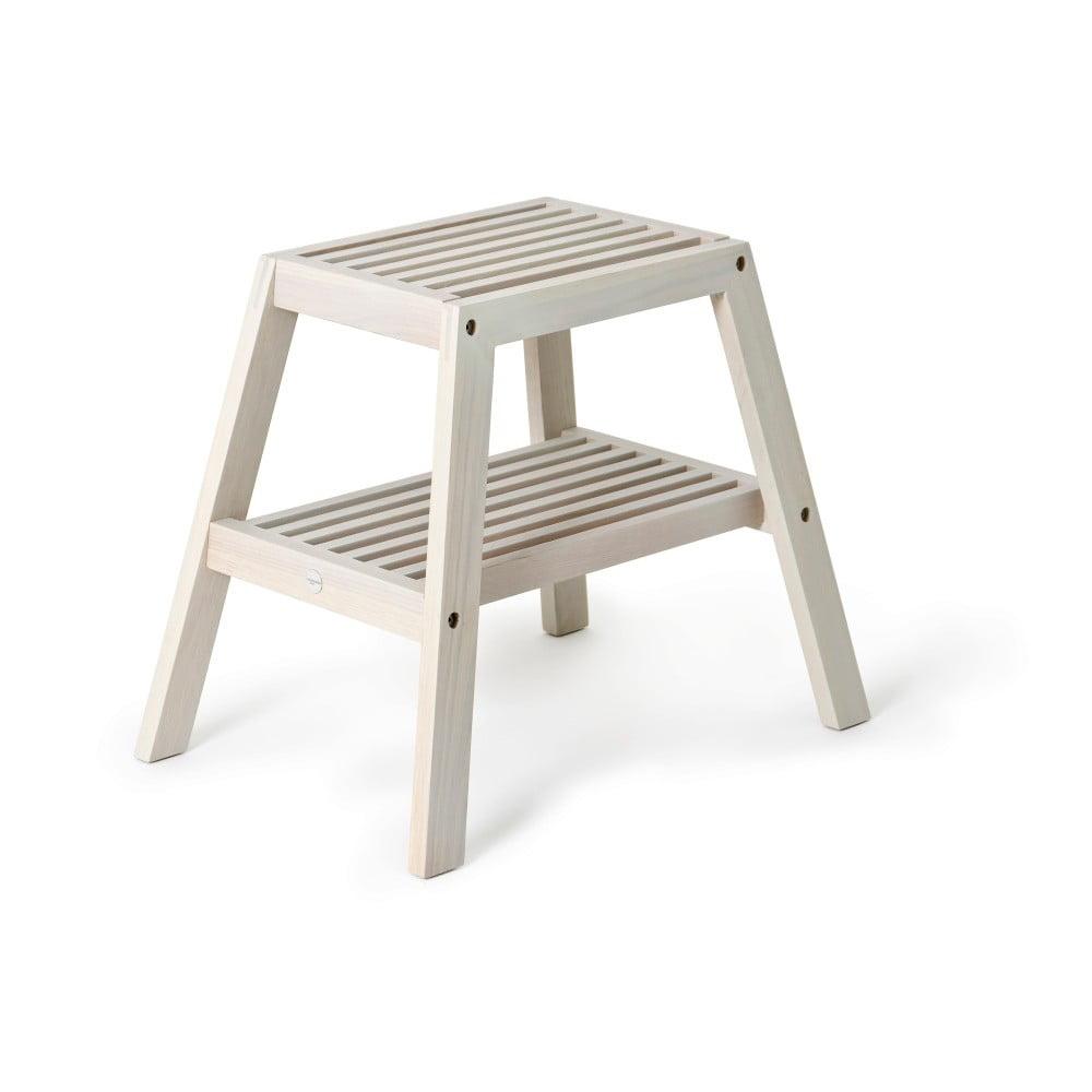Szary stołek z drewna dębowego Wireworks Slatted Stool