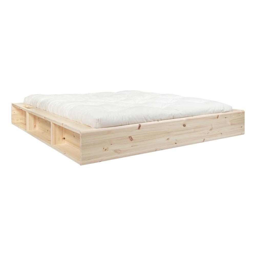Łóżko dwuosobowe z litego drewna ze schowkiem i futonem Double Latex Mat Karup Design, 160x200 cm