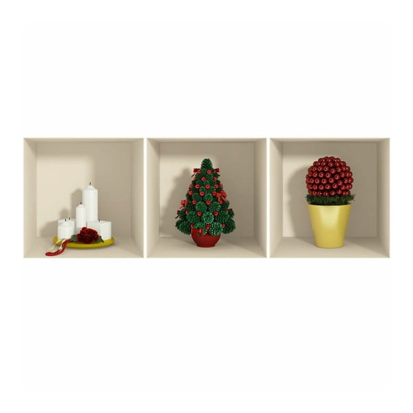 Naklejka 3D Effect Candles and Christmas Tree