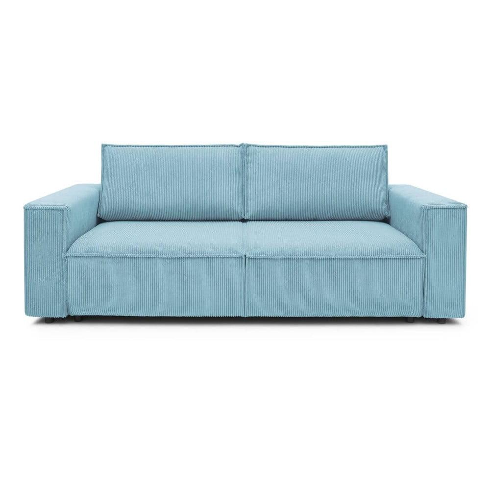 Jasnoniebieska sztruksowa sofa rozkładana Bobochic Paris Nihad, 245 cm