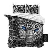 Szara jednoosobowa pościel z mikroperkalu Sleeptime Cheetah, 160x200 cm