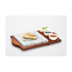 Taca z deską kamienną i miskami Stone Plate, 48x30 cm