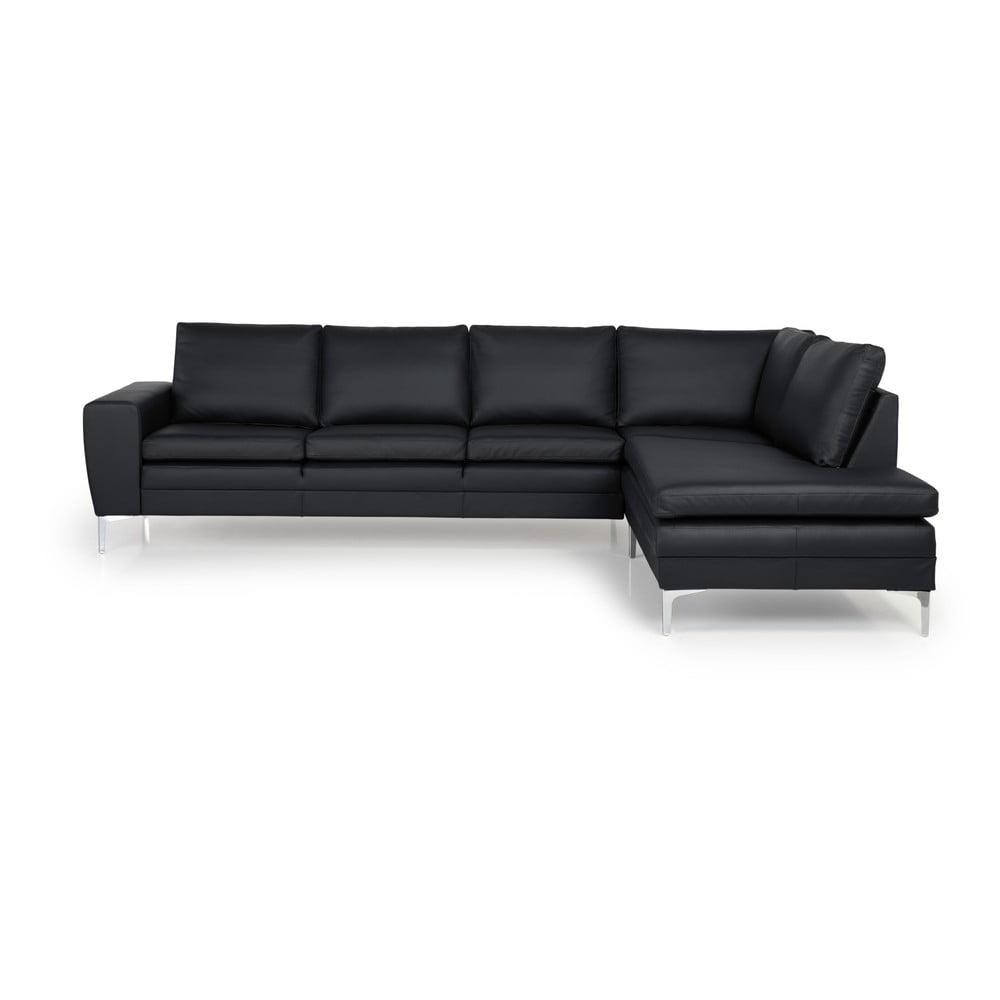 Czarna sofa z prawostronnym szezlongiem Scandic Twigo